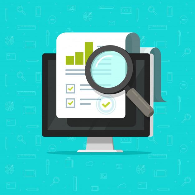 Investigación de auditoría en computadora o análisis de datos de informes  de documentos en papel financieros en pc | Vector Premium