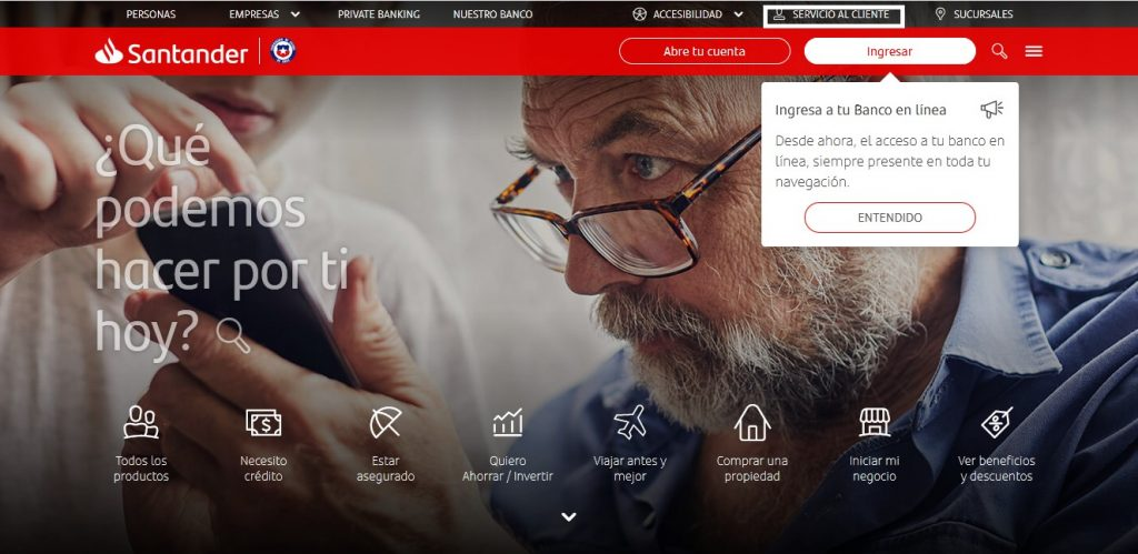 página web de Santander