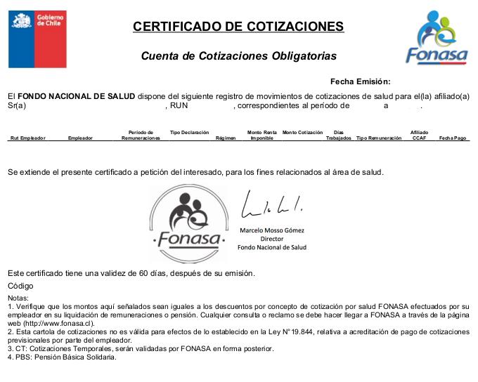 Cómo obtener el Certificado de Cotizaciones de Fonasa (2020) - ImmiChile